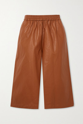 Tibi Faux Leather Shorts - Brown