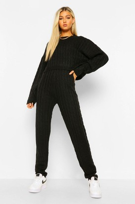 boohoo Tall Cable Knit Top & Jogger Lounge Set