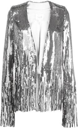 Galvan Sequinned Fringed-Hem Jacket