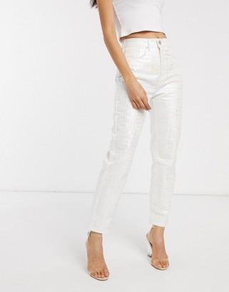 Asos Design DESIGN Florence authentic straight leg jeans in iridescent croc-Multi