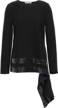 Oscar de la Renta Draped Sequin-embellished Wool-blend Sweater