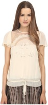 RED Valentino Cut Out Embroidery Point D'esprit Blouse