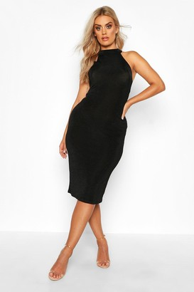 boohoo Plus High Neck Textured Slinky Midi Dress