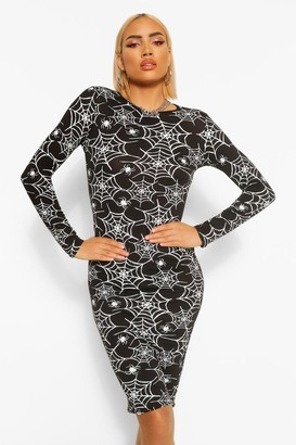 boohoo Halloween Cobweb Print Long Sleeve Midi Dress