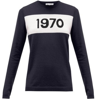 Bella Freud 1970-intarsia Cashmere Sweater - Navy