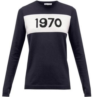 Bella Freud 1970-intarsia Cashmere Sweater - Womens - Navy