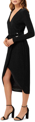 Ever New Tiffany Long-Sleeve Mock Wrap High-Low Dress w/ Buckle Detail
