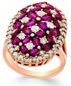 Macy's Ruby (4 ct. t.w.) and Diamond (1-3/4 ct. t.w.) Ring in 14k Rose Gold