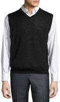 Neiman Marcus Tipped V-Neck Pullover Vest, Black