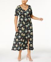 Love Squared Trendy Plus Size V-Neck Midi Dress