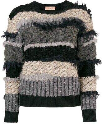 Issey Miyake Pre Owned 80's Frayed Striped Jumper