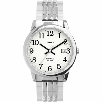Timex Men's TW2U09000 Easy Reader 35mm Silver-Tone/White Perfect Fit Expansion Band Watch