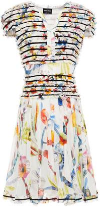 Giorgio Armani Grosgrain-trimmed Ruffled Floral-print Silk Dress