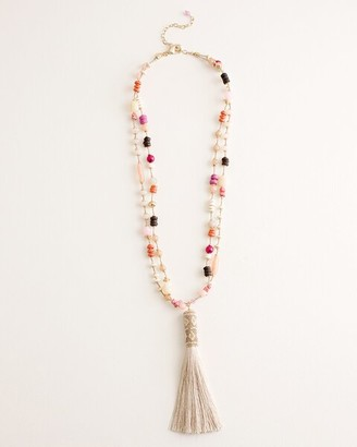 Chico's Beaded Multi-Colored Tassel Necklace