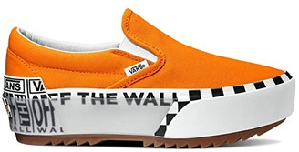Vans Classic Slip-Ontm Stacked ((Logo Stock) Bright Marigold/True White) Athletic Shoes