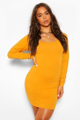 boohoo Square Neck Long Sleeve Bodycon Mini Dress