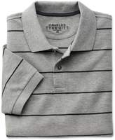 Charles Tyrwhitt Grey and Charcoal Stripe Pique Cotton Polo Size Large