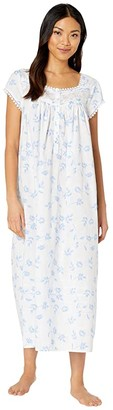 Eileen West Cotton Lawn Woven Cap Sleeve Ballet Nightgown (White Ground/Floral/Paisley) Women's Pajama