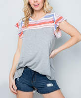 Acting Pro Women's Tunics GREY - Gray & Pink Stripe Contrast Flutter-Sleeve Tunic - Women & Plus