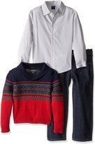 Nautica Little Boys' Toddler Three Piece Set with Woven Shirt Shawl Fair Isle Sweater and Pant