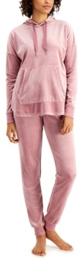 Alfani Velour Hoodie & Pants Pajama Set, Created for Macy's