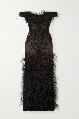 Marchesa Off-the-shoulder Feather And Crystal-embellished Embroidered Tulle Gown - Black