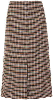 Victoria Beckham Pleated Checked Wool-jacquard Midi Skirt