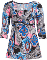 Glam Teal & Pink Paisley Faux Wrap Square Neck Top - Plus