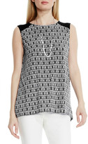 Vince Camuto Diamond Phrase Print Sleeveless Blouse