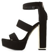 Charlotte Russe Bamboo Three-Piece Platform Sandals
