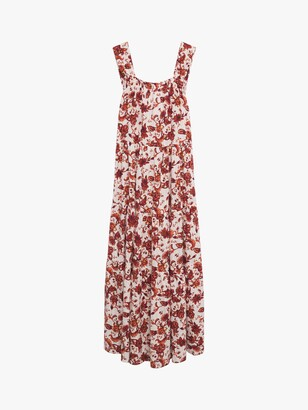 MANGO Floral Print Open Back Maxi Dress, Red