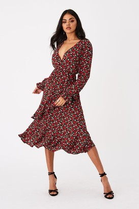 Outrageous Fortune Harmony Red Ditsy Floral-Print Frill Midi Dress