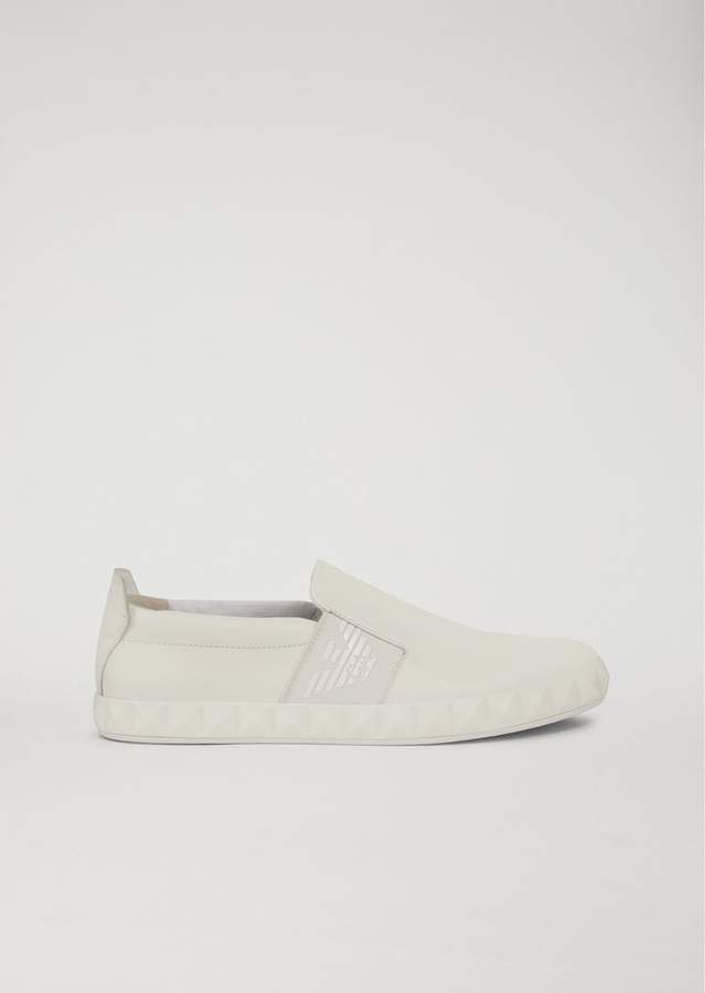Emporio Armani Slip-On Shoes In Leather With Logo