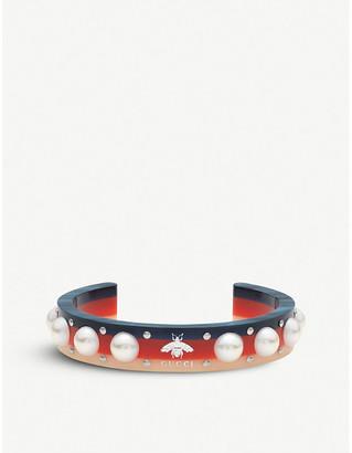 Gucci Webbing crystal embellished cuff bracelet