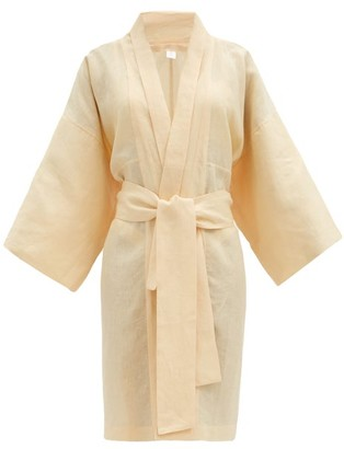 Rossell England - Wide-sleeve Linen-poplin Robe - Light Yellow