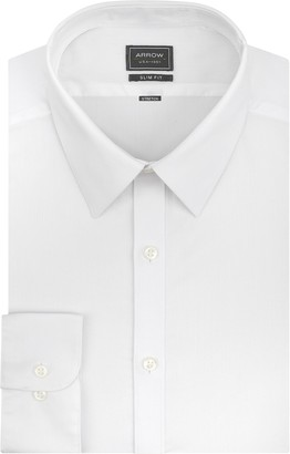 Arrow Men's Stretch Slim Fit Solid Point Collar Dress Shirt