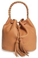 Vince Camuto 'Zinya' Tassel Drawstring Leather Bucket Bag - Brown