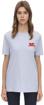 Courreges Logo Cotton Jersey Top