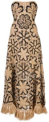 Oscar de la Renta Woven Floral Dress