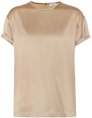 Brunello Cucinelli Stretch silk-satin top