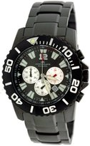 Adee Kaye Men's Black IP Plated Chronograph AK4013-MGM Black