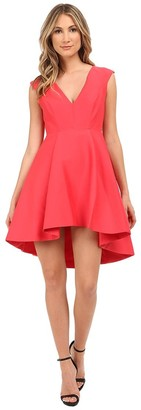 Halston Women's Cap Sleeve V-Neck Structured Dress with High/Low Skirt