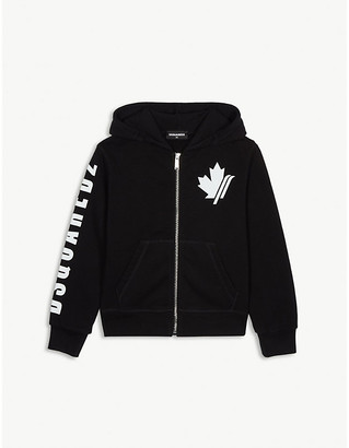 DSQUARED2 Maple leaf logo cotton zip hoody 4-16 years