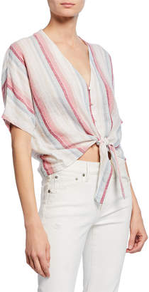 Rails Thea Striped Linen Tie-Front Top