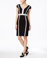 Jax Cap-Sleeve Seamed Sheath Dress
