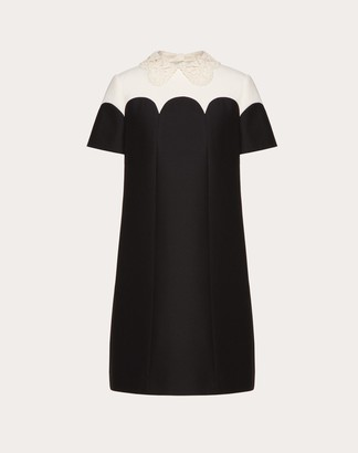Valentino Embroidered Crepe Couture Dress Women Black/ivory Virgin Wool 65%, Silk 35% 38