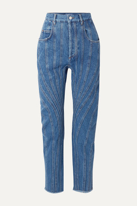 Thierry Mugler Frayed Paneled High-rise Straight-leg Jeans - Blue