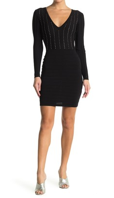 GUESS Studded V-Neck Knit Dress