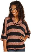 Splendid Bristol Stripe Cowl Neck Top (Black/Henna) - Apparel