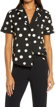 Madewell Inkwell Dots Knit Bedtime Short Sleeve Pajama Top